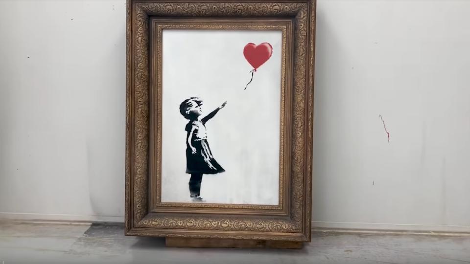 Skartace obrazu Dívka s červeným balónkem měla být kompletní, přiznal Banksy