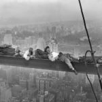 30 Sep 1932, Manhattan, New York, New York, USA --- Four construction workers take a nap, balanced on a steel girder hung 800 feet over Manhattan, during the construction of the Radio City Music Hall. --- Image by © Bettmann/CORBIS